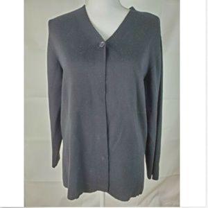 Talbots Petites Size M Medium Cardigan Black Wool